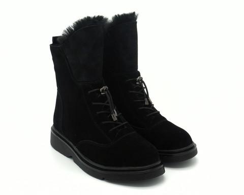 Черные ботинки из натурального велюра