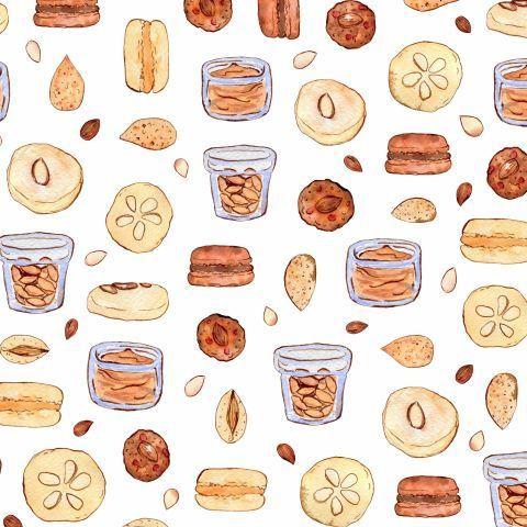 Миндаль, конфеты, масло и печенье макаронс