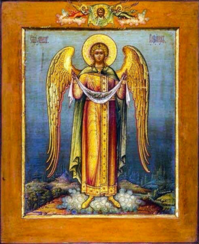 Икона святой Архангел Рафаил на дереве на левкасе  мастерская Иконный Дом