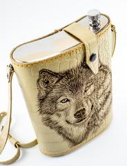 Фляга в кожаном чехле Волк, 2 л, фото 3