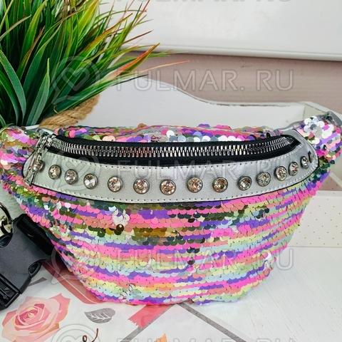 Поясная сумка летняя для девочки в пайетках со стразами меняет цвет Радужный пастельный - Серебристый