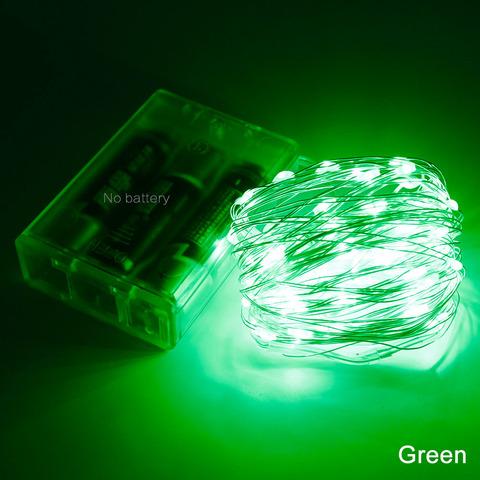 LED гирлянда из тонкой проволоки зеленый цвет на батарейках