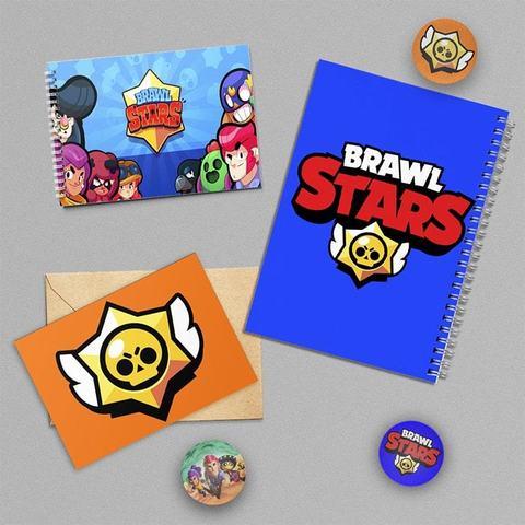 Бравл Старс: набор из тетради, блокнота, открытки и 3 значков