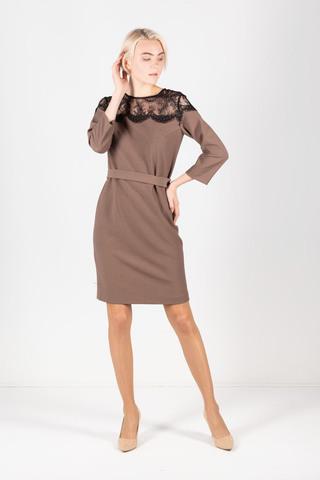 Фото коричневое платье прямого силуэта с элегантной кружевной вставкой - Платье З301а-527 (1)