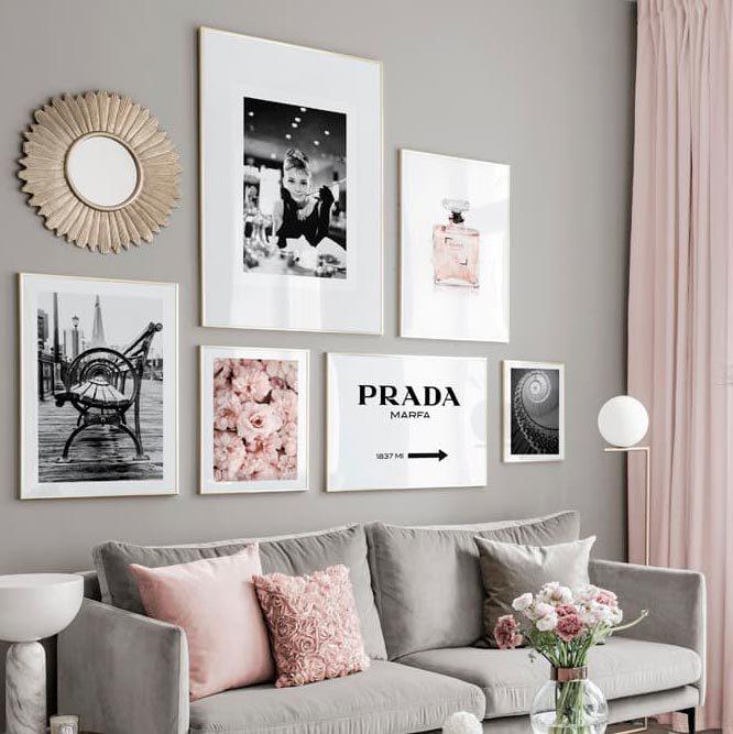 Комплект из 6 картин с белой рамкой