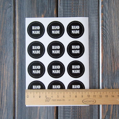 Наклейка HAND MADE черная - 12шт (круг 3см)