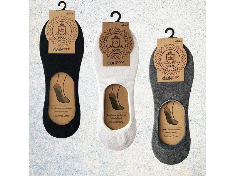 Носки-невидимки мужские - набор из 3 пар (черные, белые, серые) DARKZONE DZCP3003