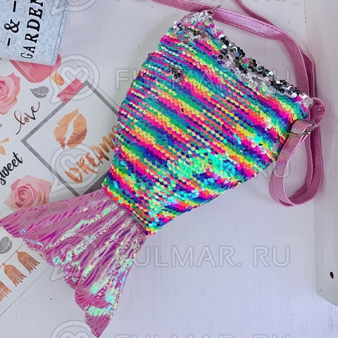 Детская сумочка-хвост Русалки в пайейтках меняет цвет Радужный-Зеркальный