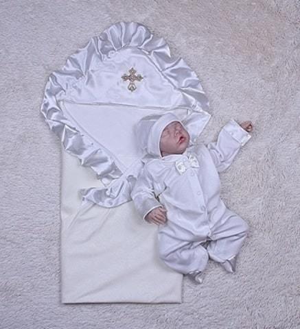 Набор на крещение для малыша молочный