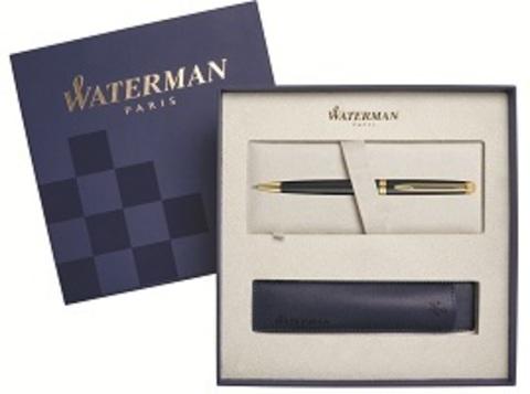 Подарочный набор Шариковая ручка Waterman Hemisphere Essential, Matt Black GT с чехлом123