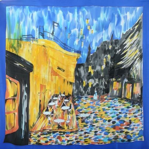 Шелковый платок батик Кафе Ван Гог С-60