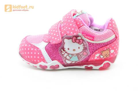 Светящиеся кроссовки для девочек Хелло Китти (Hello Kitty) на липучках, цвет розовый, мигает картинка сбоку. Изображение 3 из 15.