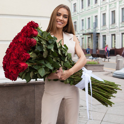 101 Красная эквадорская роза 90 см #27534