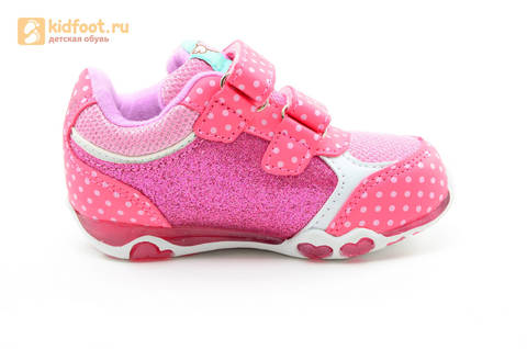 Светящиеся кроссовки для девочек Хелло Китти (Hello Kitty) на липучках, цвет розовый, мигает картинка сбоку. Изображение 4 из 15.