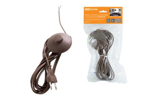 Шнур с ножным выключателем и плоской вилкой ШУН01В ШВВП 2х0,75мм2 3,5м. коричневый