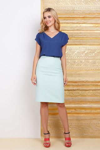 Фото летняя синяя блуза с короткими рукавами и треугольной горловиной - Блуза Г624-322 (1)