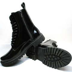 Зимние ботинки на толстой подошве женские кожаные с мехом Ari Andano 740 All Black.
