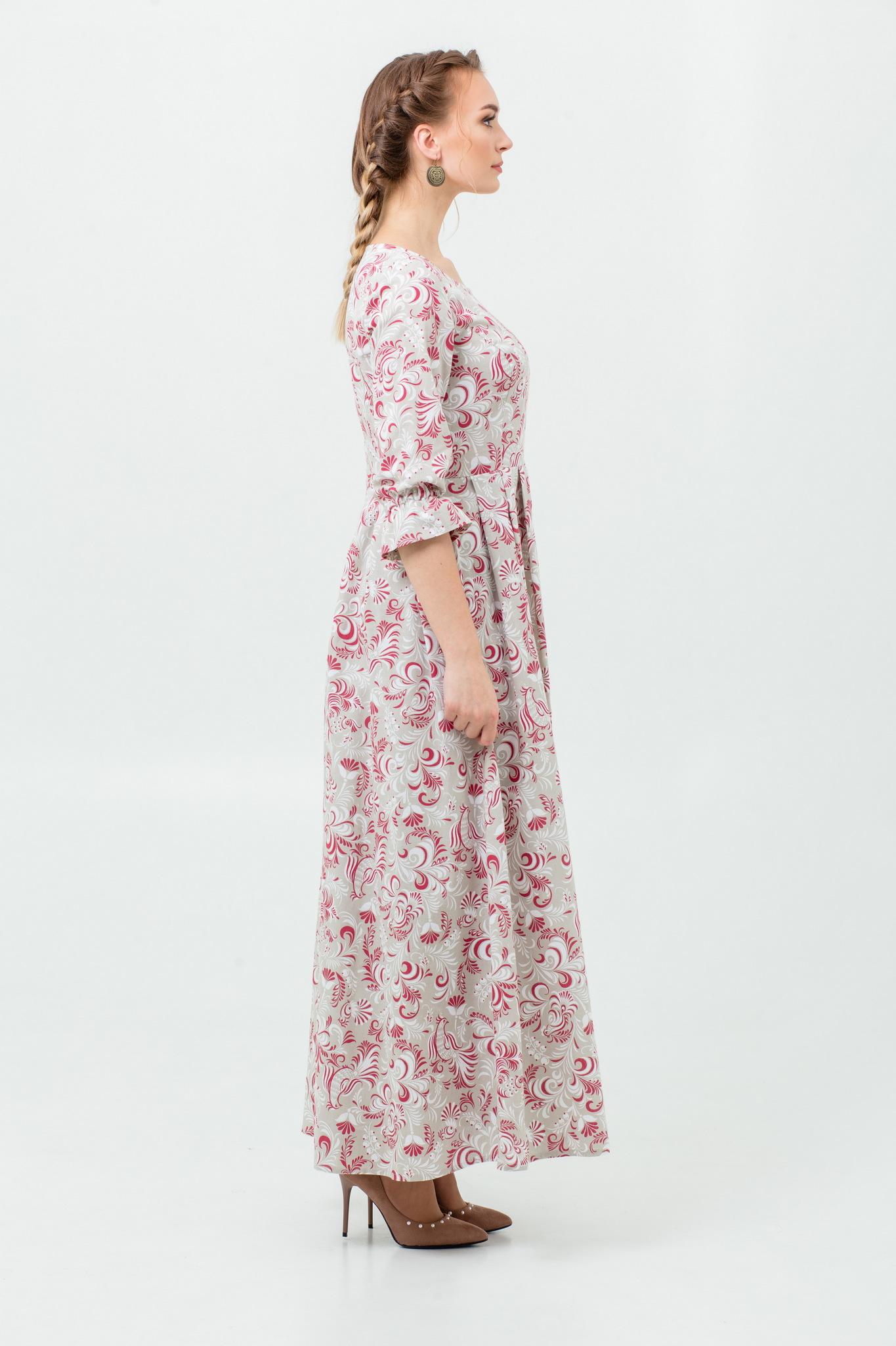 Льняное платье в пол Красные петухи