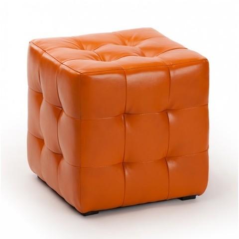 Пуф мягкий ПФ-1 оранжевый кожзам