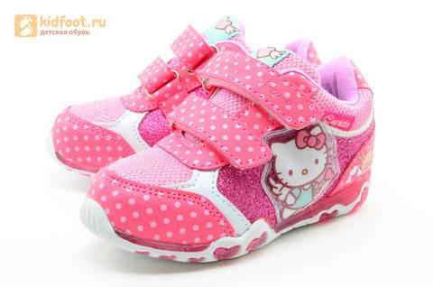 Светящиеся кроссовки для девочек Хелло Китти (Hello Kitty) на липучках, цвет розовый, мигает картинка сбоку. Изображение 6 из 15.