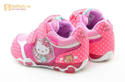 Светящиеся кроссовки для девочек Хелло Китти (Hello Kitty) на липучках, цвет розовый, мигает картинка сбоку. Изображение 7 из 15.