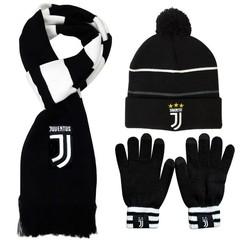 Комплект вязаная шапка с помпоном, шарф и перчатки с логотипом ФК Ювентус (Juventus)