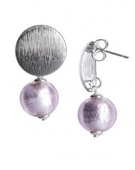 Серьги тренд металлические вставки серебристо-розовые