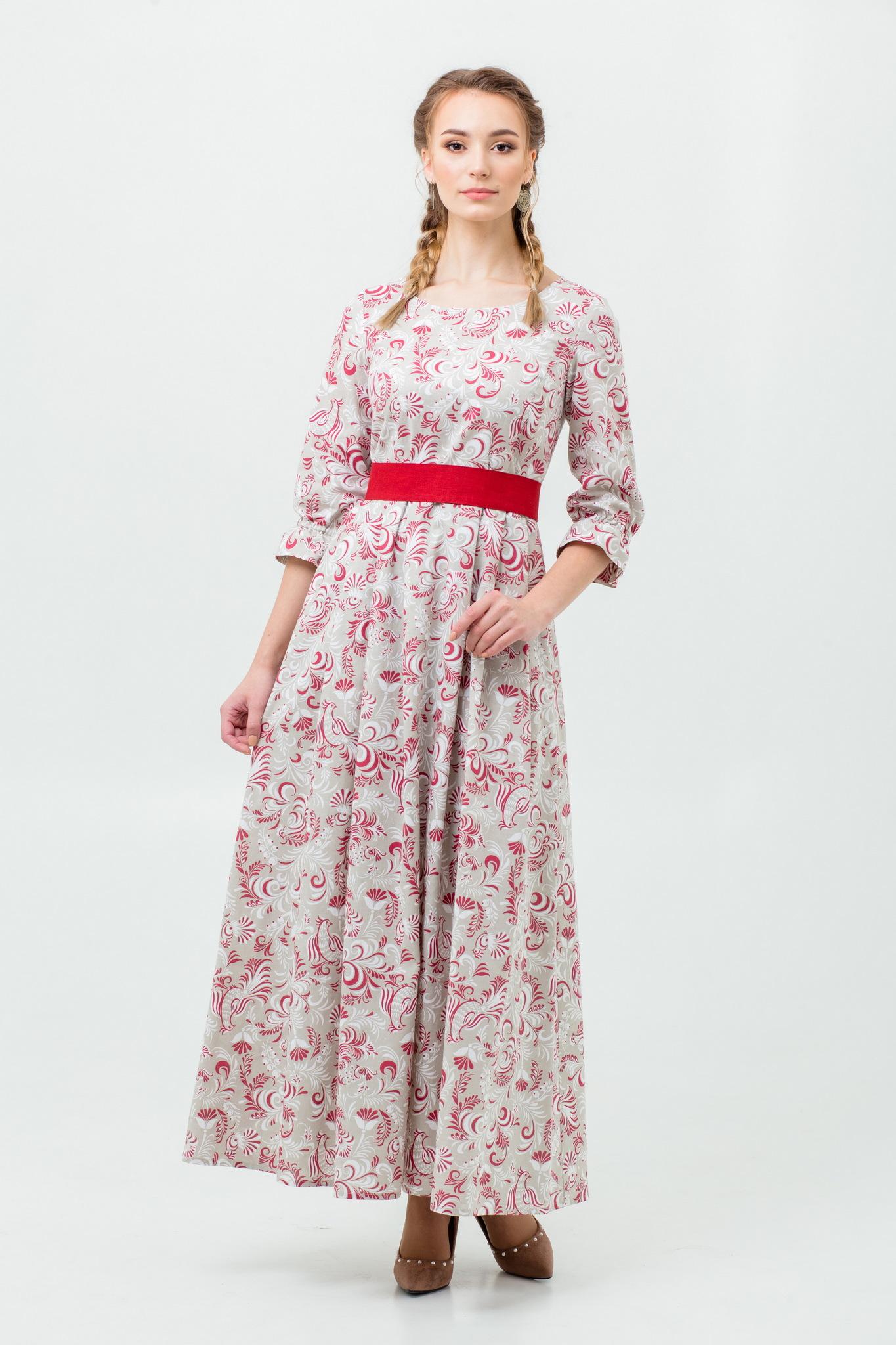 Платье русское народное Красные петухи