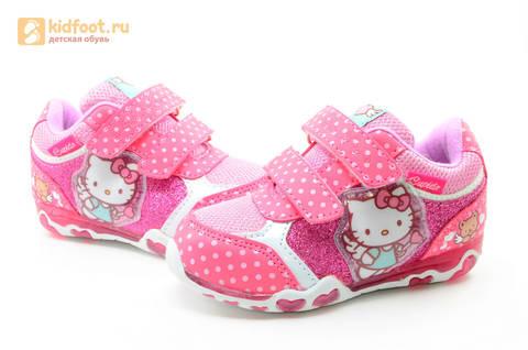 Светящиеся кроссовки для девочек Хелло Китти (Hello Kitty) на липучках, цвет розовый, мигает картинка сбоку. Изображение 10 из 15.
