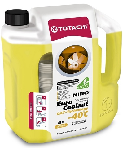 NIRO™ EURO COOLANT OAT TECHNOLOGY -40°C TOTACHI Антифриз желтый (2 Литра)