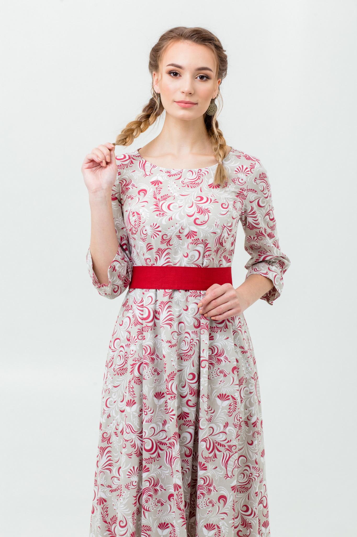 Длинное платье в русском стиле Красные петухи