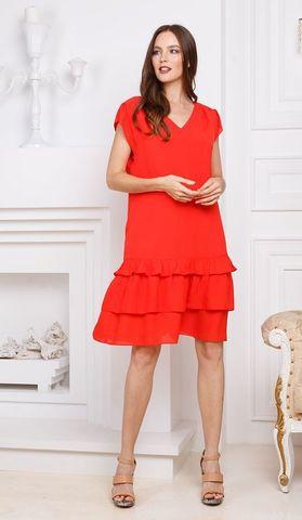 Фото красное платье а-силуэта с v-образным вырезом - Платье З274-931 (1)