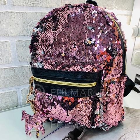 Рюкзак в двусторонних пайетках меняет цвет Розовый-Зеркальный с брелком Единорогом (26x20x10 см) Классика