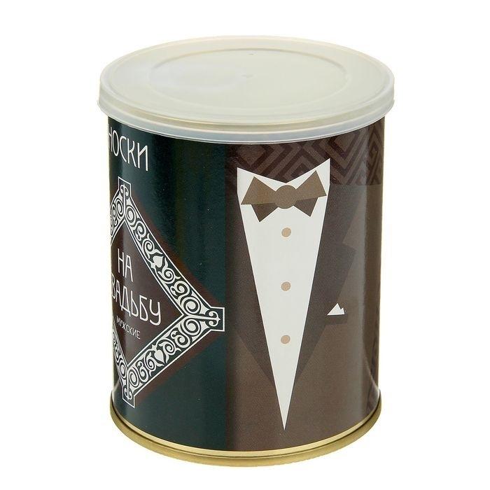 """Носки в консервной банке """"Носки на свадьбу"""" (носки мужские, цвет черный) , 1 пара"""