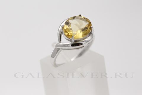 Кольцо с цитрином из серебра 925