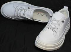 Красивые модные туфли кроссовки для повседневной носки El Passo sy9002-2 Sport White.