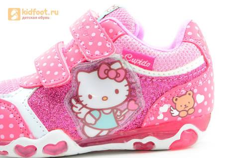 Светящиеся кроссовки для девочек Хелло Китти (Hello Kitty) на липучках, цвет розовый, мигает картинка сбоку. Изображение 12 из 15.