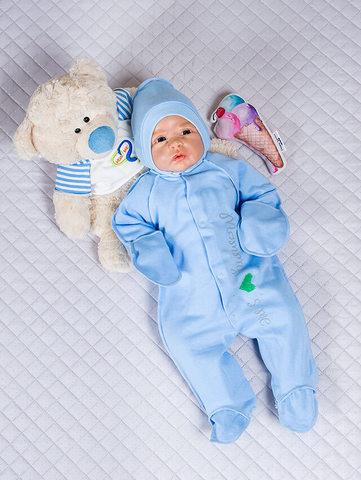 Человечек для новорожденных Love me с чепчиком (голубой)