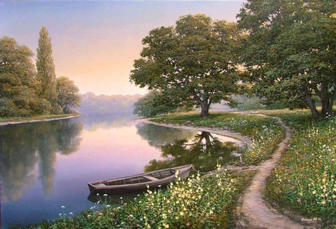Картина раскраска по номерам 40x50 Деревянная лодка на берегу реки