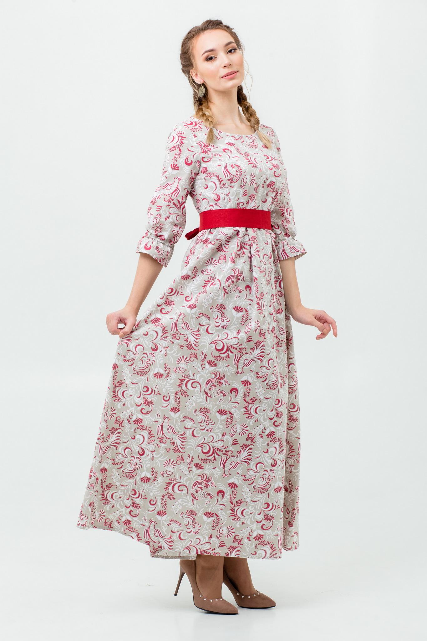 Платье в русском стиле Красные петухи