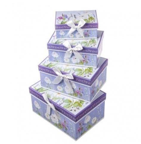 Набор коробок прямоугольных Прованс 4шт, 23х16х13см, белый/сиреневый