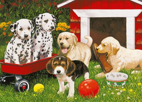 Картина раскраска по номерам 40x50 Щенячьи игры