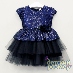 Платье 98-110 (пайетки, брошь)