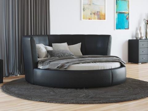 Круглая кровать Luna Экокожа Черная Caiman Croco
