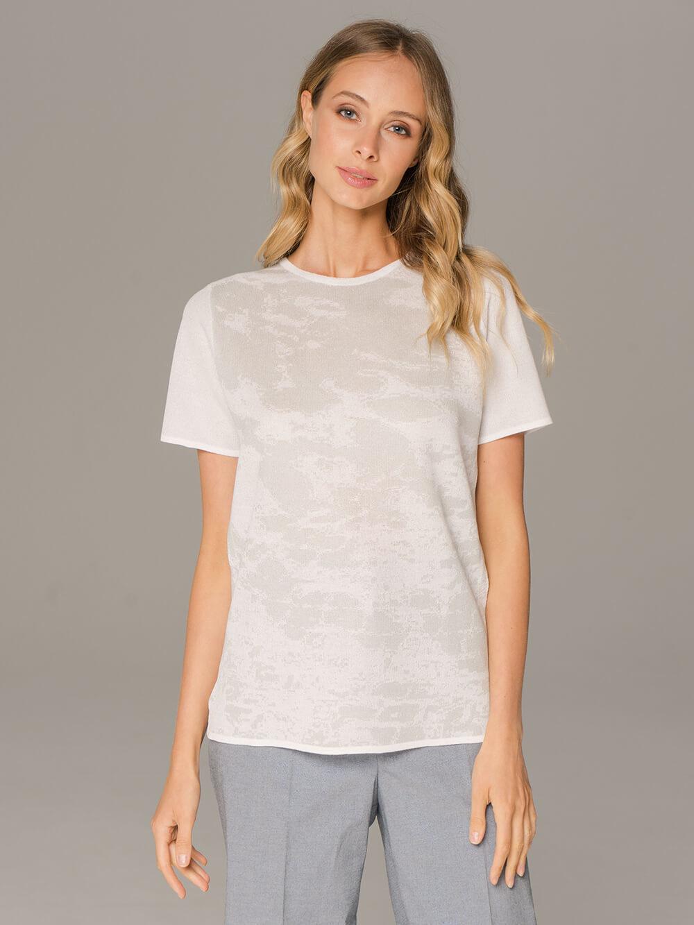 Женский джемпер с коротким рукавом белого цвета - фото 1