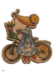 Лиса на велосипеде ( деревянный значок в упаковке)