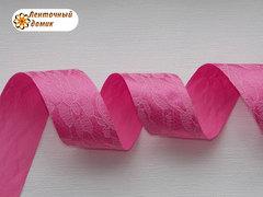 Лента атласная в гипюре ярко-розовая ширина 25 мм