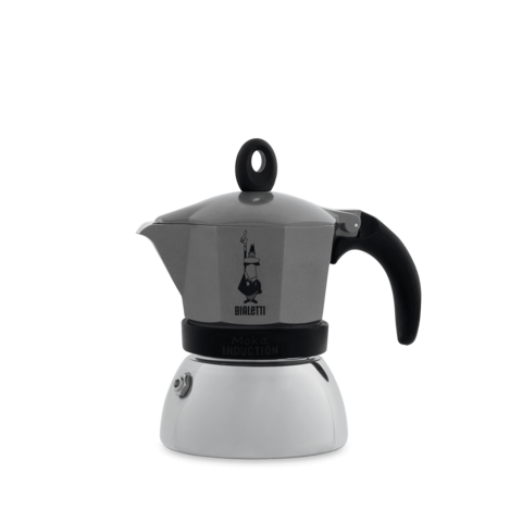 Bialetti Moka Induction, Гейзерная кофеварка на 3 порции (Серая)