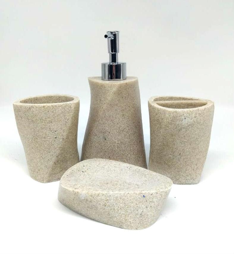 Набор аксессуаров для ванной комнаты, 4 предмета, «Камень» фото