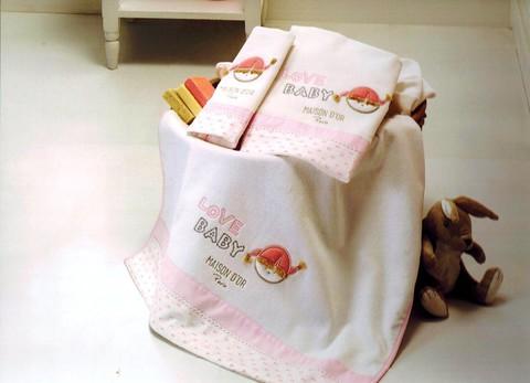Набор полотенец для девочки  из 3х предметов  LOVE BABY- ЛАВ БЭБИ /  Maison Dor (Турция)